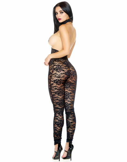 Choked Lace Open Bust Bodystocking