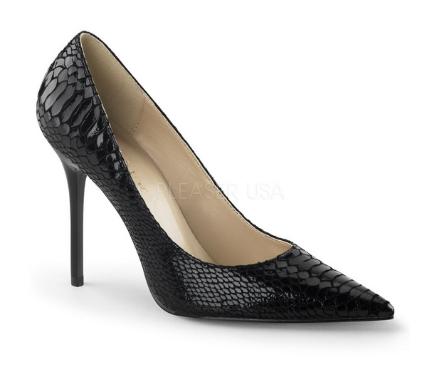 Black Snake Print Pointed Toe Pump