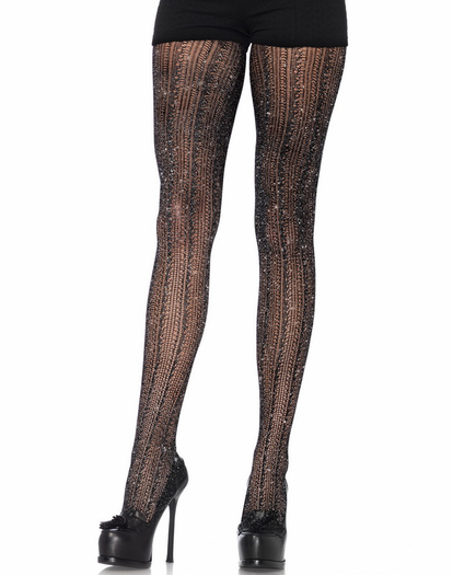 Crochet Stripe Lurex Pantyhose