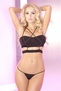 Cross Over Black Bra & Thong Set