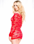 Date Night In Red Lace Off Shoulder Chemise