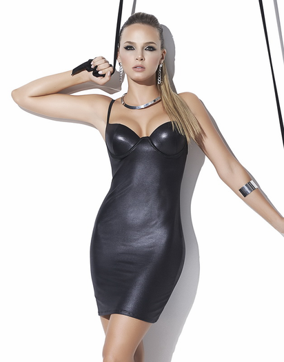Double Flirt Wet Look Mini Dress