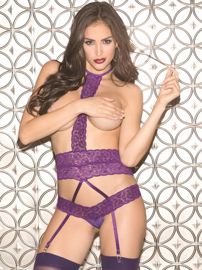 Erotic Diva Lace Open Bust Teddy & Stockings Set
