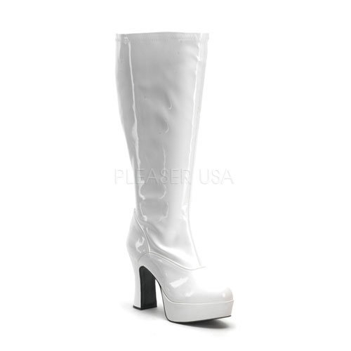 White Stretch Patent 4 Inch Block Heel Boots