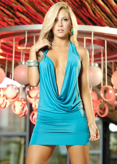 Eye Catcher Deep Plunge Party Dress