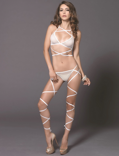 Fantastic Flirt Fishnet Bra & Wrap Panty Set