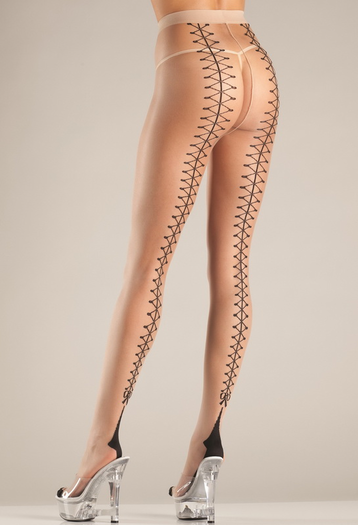 Faux Lace Up Back Tights