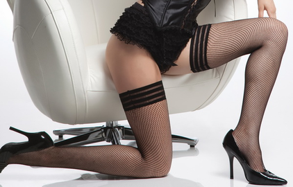 Fishnet Stockings with Triple Elastic Top