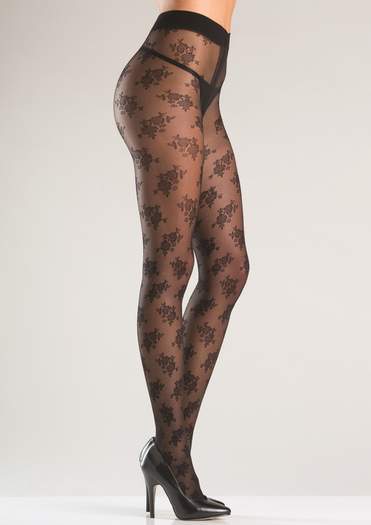 Floral Pantyhose With Gusset