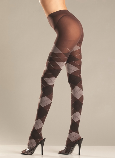 Grey Argyle Sexy Tights