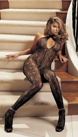 H.O.T. Swirl lace, halter body stocking, open front