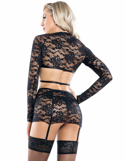 Harness Your Body Lace Top, Garter Skirt, & Thong Set