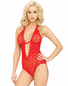 Heart Cut Out Lace Teddy