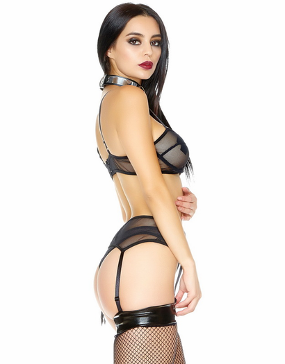 Heartless Black Net Bra, Garterbelt, & Panty Set