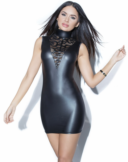 Into You Wet Look Mini Dress