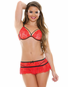 Kiss Me All Day Red Lace Bra & Skirt Set