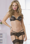 Lace & Lame Bra & Strappy Garter Panty Set