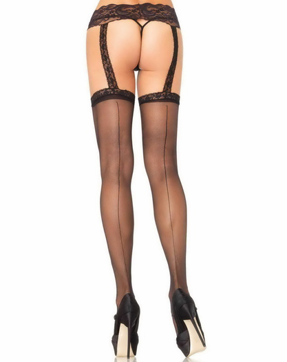 Lace Top Stockings With Lace Garterbelt