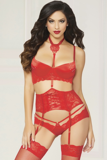 Love Galore Lace Bra, Garterbelt, & Panty Set
