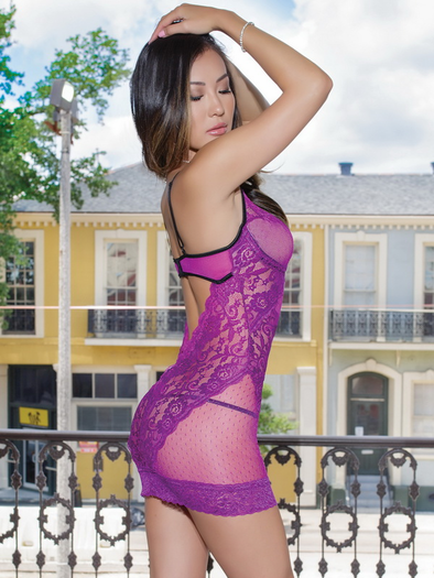 Magenta Love Lace Chemise