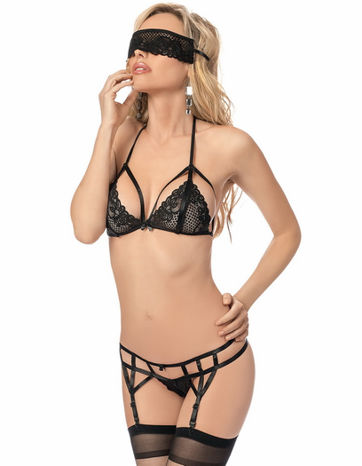 Mask Your Love Sexy Bra, Garterbelt, & Mask Set
