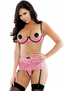 Mi Amour Shelf Bra, Garterbelt, Pasties, & Crotchless Panty Set