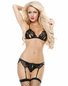 Naughty Black Split Cup Lace Bra, Garterbelt, & Thong Set