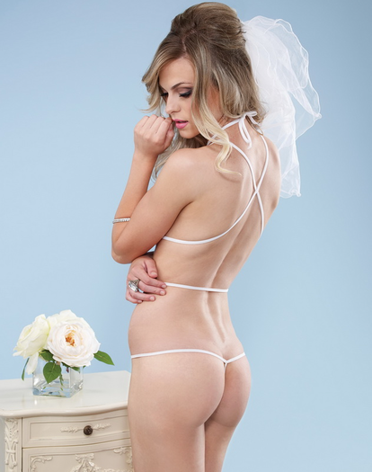 Naughty Bride Sexy Crotchless Teddy