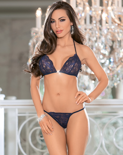 Navy Blue Bra, Thong, & Pant Set