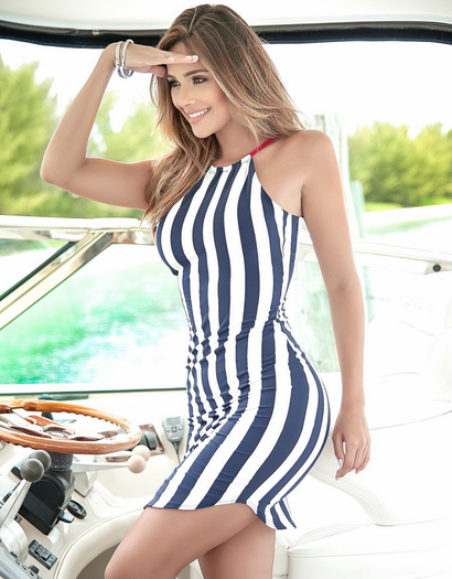 Navy Stripe Sexy Sun Dress