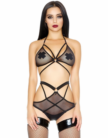 No Restraint Black Micro Net Bra & Panty Set