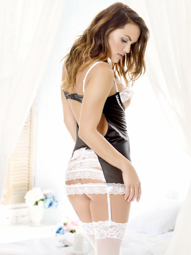 Obsessing Over You Open Bust Chemise & G-String Set