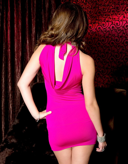 On The Prowl Hot Pink Cowl Back Mini Dress