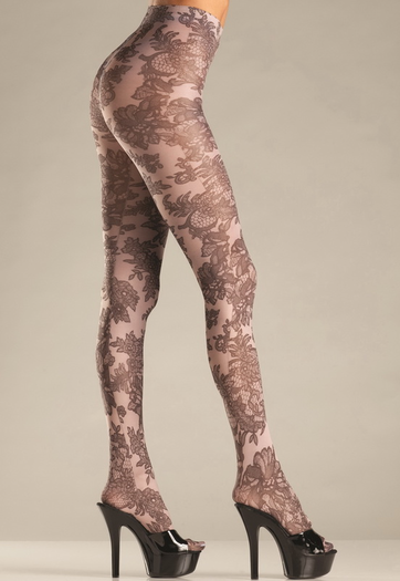 Opaque Floral Tights