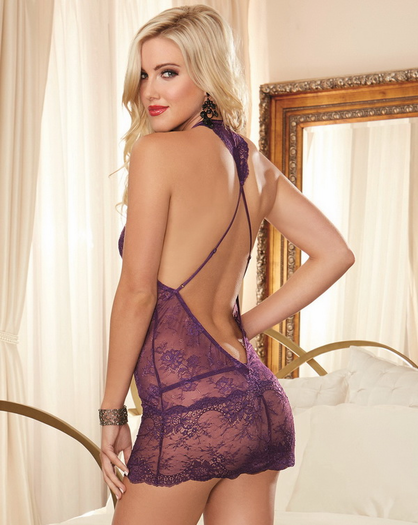 Passionate Desire Lace Open Back Chemise & Thong Set