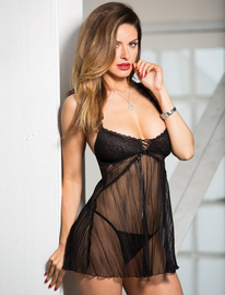 Pleated Net Babydoll & Thong Set