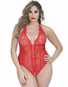 Plus Size Tempt & Tease Cupless Crotchless Teddy