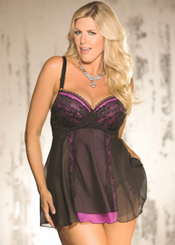 Plus Size Erotic Evening Babydoll & Thong Set