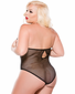 Plus Size Erotic Night Wet Look & Fishnet Cupless Teddy
