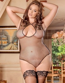 Plus Size Exposed Fishnet Arousal Sexy Teddy