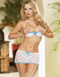 Plus Size Falling Madly In Love Shelf Bra, Garter Skirt & G-String Set