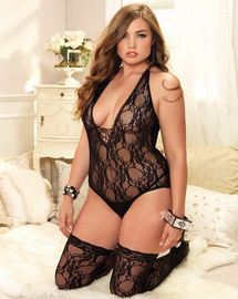 Plus Size Floral Lace Teddy & Stockings Set
