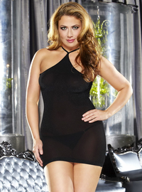 Plus Size Halter Mini Black Dress