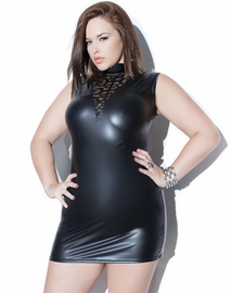 Plus Size Into You Wet Look Mini Dress
