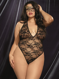 Plus Size Kiss Me Slowly Lace Teddy & Eye Mask Set