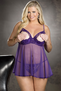 Plus Size Lace and Net Open Tip Babydoll