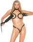 Plus Size Leather Lust Open Bust Bra & Crotchless Thong Set