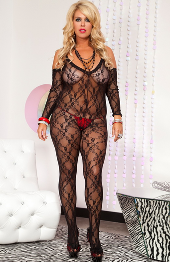 Plus Size Lovely Lace Crotchless Bodystocking
