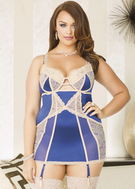 Plus Size Naughty Moments Navy Chemise