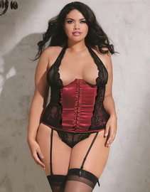 Plus Size Open For You Underbust Satin Corset & Thong Set